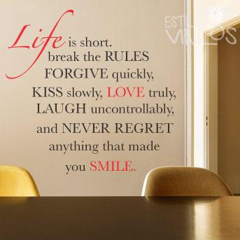 vinilo life is short